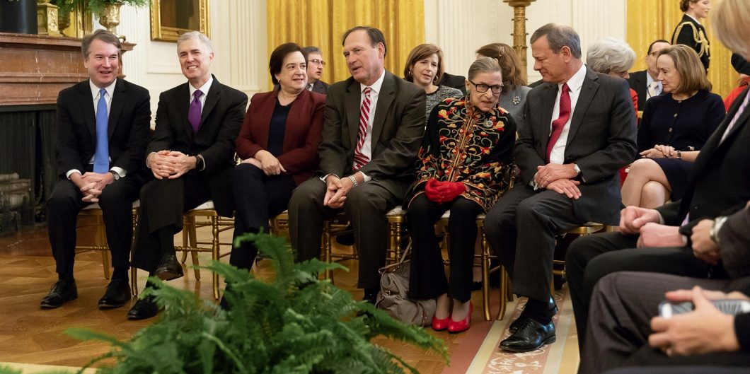 Justices of the U.S. Supreme Court attend the Presidential Medal of Freedom award ceremony in the East Room of the White House November 16, 2018 in Washington, D.C. Sitting from left to right are: Brett Kavanaugh, Neil Gorsuch, Elena Kagan, Samuel Alito,