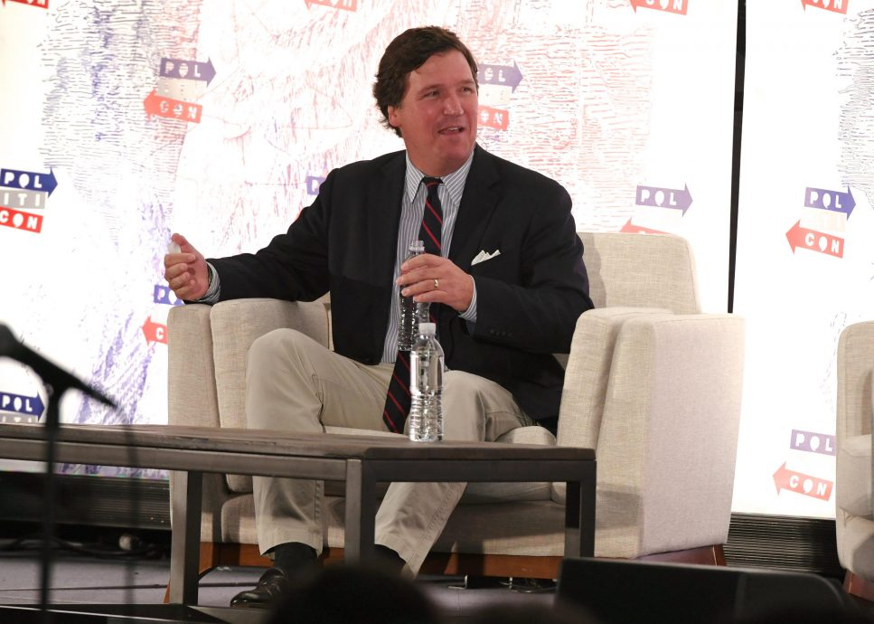 Los Angeles, USA. 21st Oct, 2018. Tucker Carlson on stage at Politicon 2018 at the LA convention Center on October 21, 2018 in Los Angeles, California. Credit: The Photo Access/Alamy Live News
