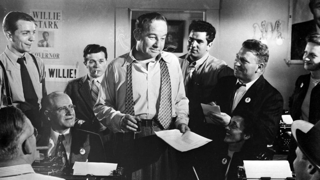 Broderick Crawford as Willie Stark acting in scene from movie All the King's Men.
