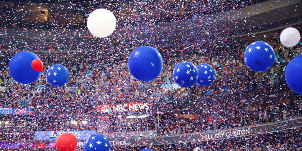 balloon drop at DNC 2016