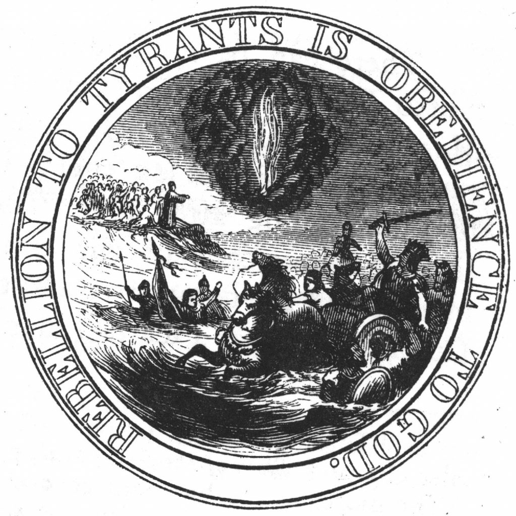 Benjamin Franklin's proposed this depiction for the national seal in 1776.
