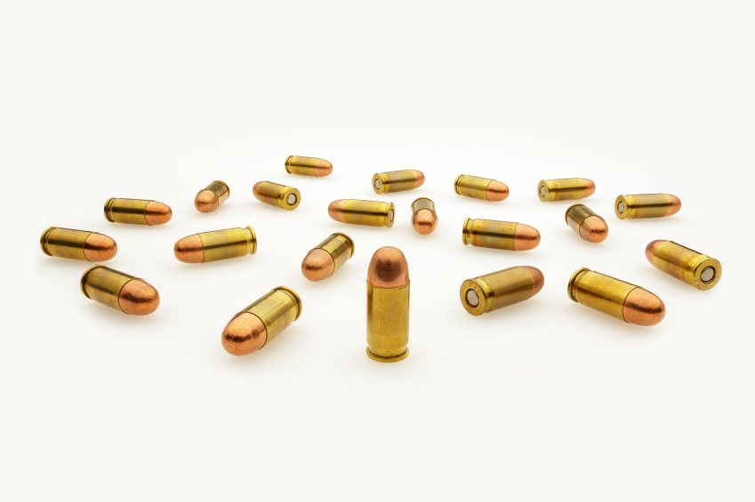 Automatic Pistol Bullets Isolated on White Wide Angle View