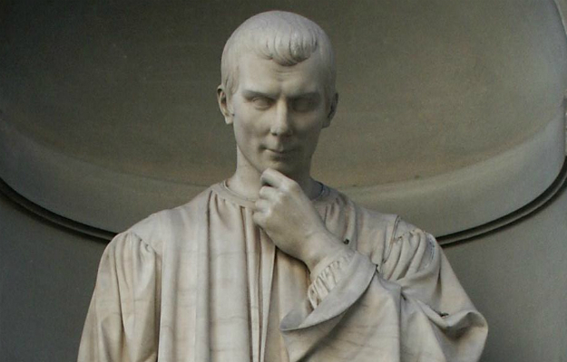 Statue of Niccolo Machiavelli outside the Uffizi Gallery in Florence, Italy.
