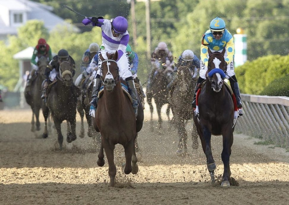 19.05.2012.  Baltimore, Maryland,  I'll Have Another (left), Martin Gutierrez up, wins the Preakness Stakes at Pimlico Race Course in Baltimore, Maryland. Bodemeister (right), Mike Smith up, is second.