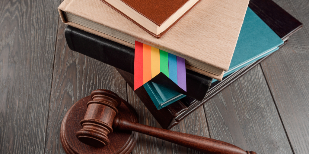 pride ribbon law books