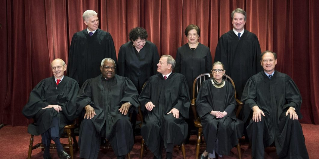 November 30, 2018 – Washington, District of Columbia, U.S. – The Supreme Court Justices pose for their official group portrait in the Supreme Court on November 30, 2018 in Washington, DC Seated from left: Associate Justice Stephen Breyer, Associate Justic