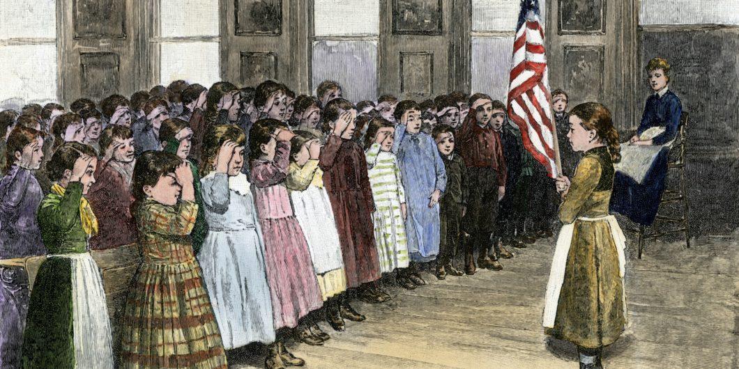 Students saluting flag
