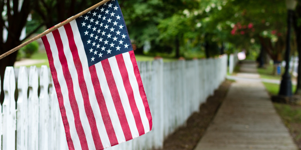 american flag picket fence street