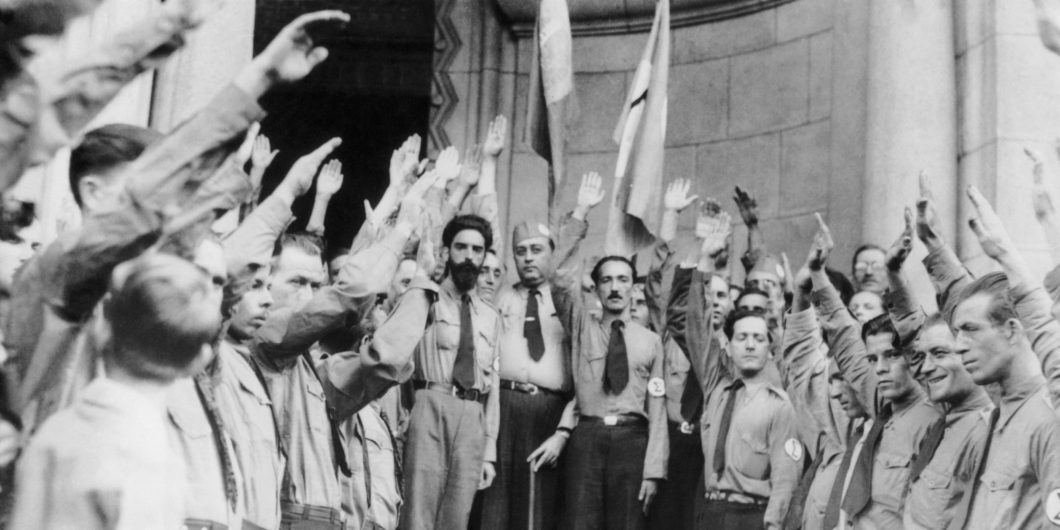 Plinio Salgado And The Fascist Salute Of The Green Shirts In Brazil In 1935