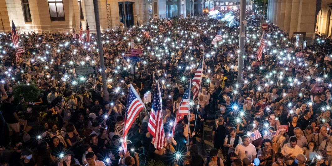 Hong Kong Protest American Flag