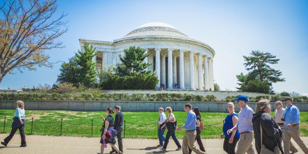 Jefferson Memorial with crowd