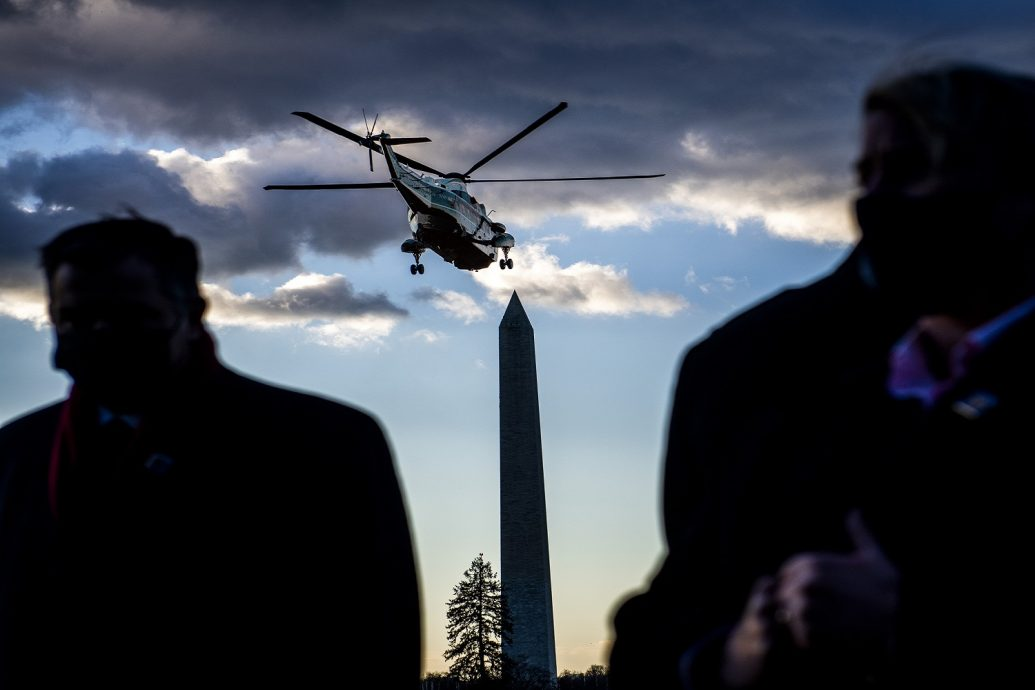 President Donald Trump departs the White House for the last time, on January 20 in Washington, DC.