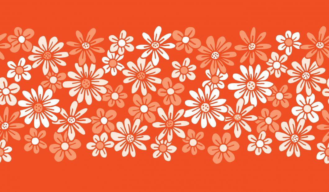 Monochrome,Orange,Hand,Drawn,Felt,Tip,Pen,Daisies,Background,Floral