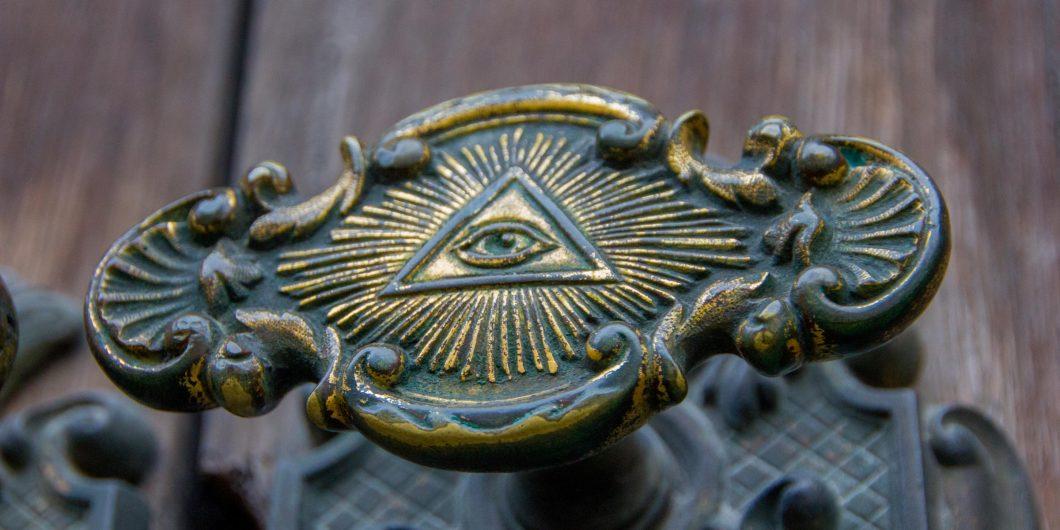 All seeing eye of illuminati on a door knob of the Illuminati freemason in Stockholm, Sweden.
