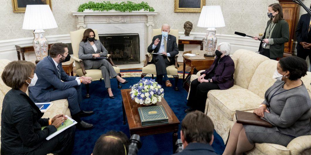 Joe Biden, Janet Yellen, Kamala Harris, Brian Deese, Cecilia Rouse, Shalanda Young
