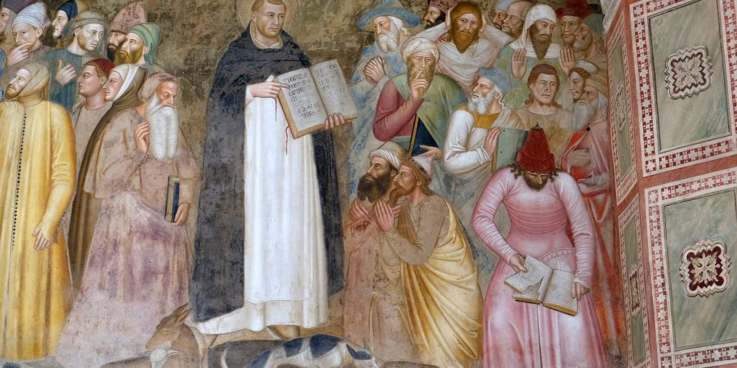 FLORENCE ITALY JANUARY 10 2019 Saints Peter the Martyr and Thomas Aquinas Refute the Heretics, detail of the Active and Triumphant Church, Santa Maria Novella Dominican church in Florence